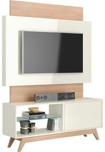 Rack Com Painel 55 Polegadas Renoir I Off White E Natural 140 Cm