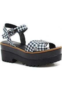 Sandália Plataforma Zariff Shoes Xadrez