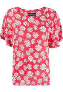 Moschino Loose-Fit Daisy-Print Blouse - Rosa
