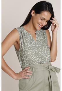 Blusa Feminina Ampla Estampada Decote V Sem Manga Verde