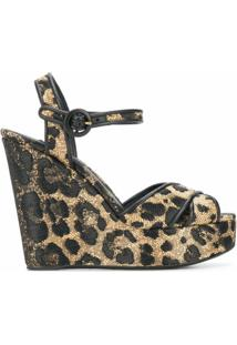 Dolce & Gabbana Sandália Plataforma Com Estampa De Leopardo - Neutro