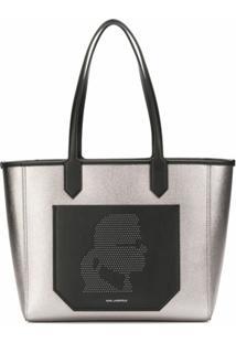 Karl Lagerfeld Bolsa Tote Color Block - Cinza