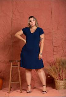 Vestido Basico Viscolycra Marinho Plus Size