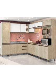 Cozinha Compacta Com 17 Portas E 2 Gavetas Vicenza – Visão Móveis - Sonora / Branco