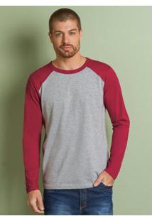 Camiseta Cinza E Vermelha Mangas Raglan