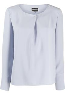 Giorgio Armani Pleated Detail Long-Sleeved Blouse - Azul