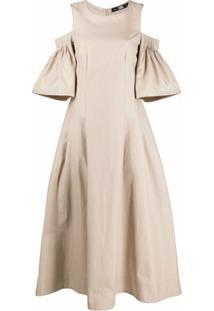 Karl Lagerfeld Vestido Evasê Com Vazado Nos Ombros - Neutro