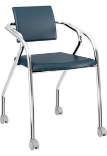 Cadeira De Escritório Interlocutor Tom Cromada Azul Noturno