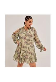 Vestido Curto Em Chiffon Estampa Coqueiros Curve & Plus Size | Ashua Curve E Plus Size | Verde | Gg
