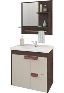 Gabinete Suspenso Para Banheiro Tulipa Com Espelho 59X35,5Cm Café E Off-White