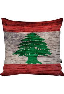 Capa De Almofada Líbano- Vermelha & Verde- 45X45Cm