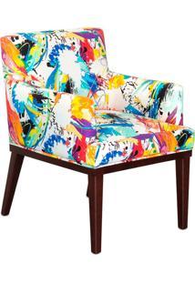 Poltrona Decorativa Vitória Para Sala E Recepção Estampado Color D18 - D'Rossi