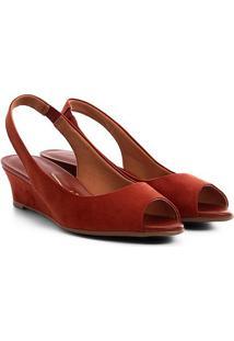 Peep Toe Anabela Vizzano Slingback - Feminino-Vermelho Escuro