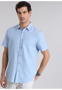 Camisa Comfort Com Bolso Azul Claro