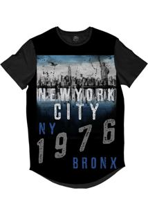 Camiseta Longline Bsc New York City 1976 Sublimada Preto