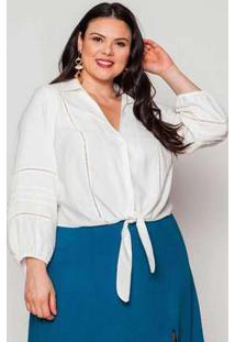 Camisa Almaria Plus Size Pianeta Off White Branco