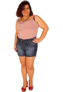 Shorts True E-Motion Clochard Janie Jeans Lavagem Stone Azul