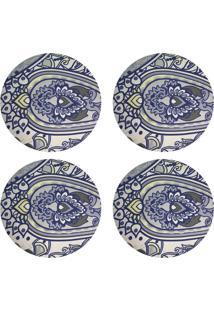 Kit 4Pçs D'Rossi Sousplat Para Prato Suporte De Mesa Decorativo Azul Oriental 30 Cm
