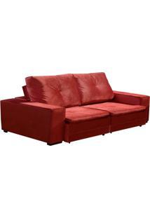 Sofá 3 Lugares Retrátil E Reclinável Viper Veludo Vermelho