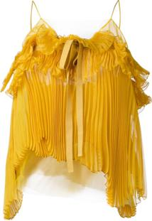 Rochas Blusa Com Plissado E Alças - Amarelo