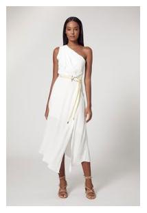 Vestido De Crepe Um Ombro Drapeado Branco Pérola