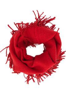 Uma Wang Cachecol Com Franjas - Vermelho