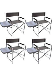 Kit 4 Cadeiras Dobráveis Diretor Com Mesinha Lateral Nautika - Unissex
