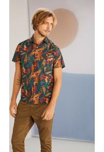 Camisa Manga Curta Estampada Floricultura Jeans