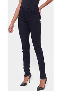 Calça Jeans Skinny Lez A Lez Com Elastano Cintura Média Feminina - Feminino-Azul