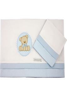 Lenã§Ol De Mini Berã§O Malha - Minha Casa Baby - Urso Bolacha Azul - Azul - Menino - Dafiti