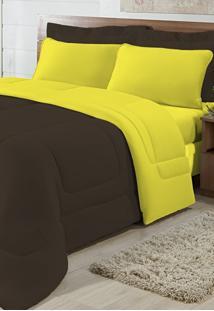 Edredom Solteiro Casa Modelo Dupla Face Malha 100% Algodão 1 Peça - Tabaco/Amarelo