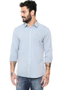Camisa Replay Bordado Azul