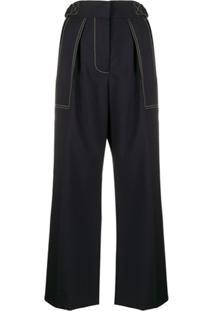 Marni Calça Pantalona Com Pesponto Contrastante - Azul