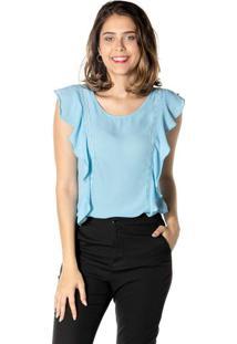 Blusa Lisa Com Babado - Azul Clarodwz
