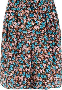 Paul Smith Bermuda Cintura Alta Com Estampa Floral - Marrom