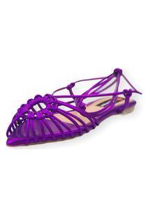Sandalia Love Shoes Rasteira Bico Folha Amarração Tirinhas Metalizado Roxo