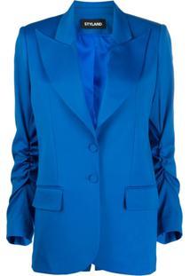 Styland Blazer Azul De Alfaiataria Com Abotoamento Simples
