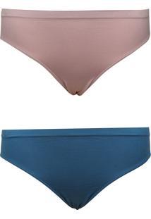 Kit Calcinha Trifil Caleçon Sem Costura 2Pçs Nude/Azul