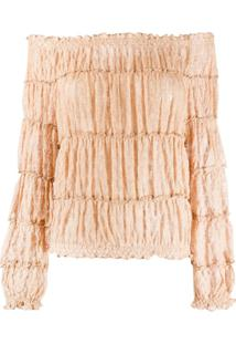Missoni Off-The-Shoulder Tiered Blouse - Dourado