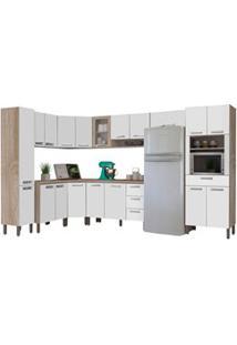 Cozinha Modulada Ametista 11 Módulos Composição 1 Nogal/Branco - Kit'S