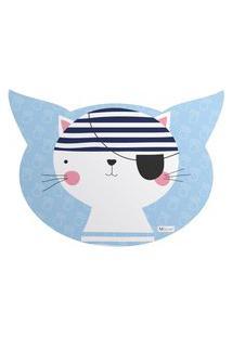 Tapete Pet Mdecore Cabeça De Gato Gato Azul 54X39Cm
