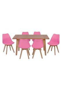 Conjunto Mesa De Jantar Em Madeira 150X80 Vértice + 6 Cadeiras Leda - Rosa