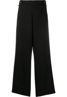 Ps Paul Smith Calça Pantalona Com Estampa De Poás - Preto