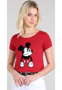 Blusa Feminina Mickey Manga Curta Decote Redondo Vermelho