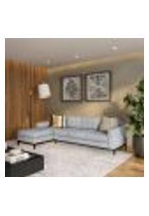 Sofá 4 Lugares Joy Com Chaise Esquerdo Pés E Base Em Madeira Linho Cotton Cinza