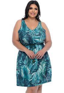 Vestido Plus Size Estampado Folhagem Tropical-52