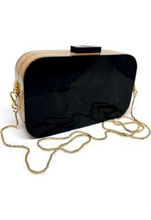 Bolsa La Madame Co Clutch Retangular Black