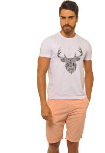 Camiseta Masculina Joss Premium New Cervo Etnico Branco