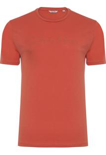 Camiseta Masculina Slim Logo - Laranja