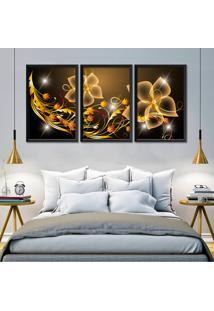 Quadro Oppen House Flores Digitais Abstrato Moldura Sem Vidro Decorativo Interiores